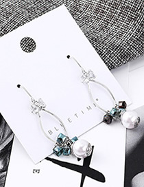 Fashion  Plated Gold Cutout Square Crystal Pearl Earrings