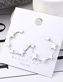 Fashion Platinum Wind-plated Real Gold Small Five-star Hollow S925 Silver Needle Earrings