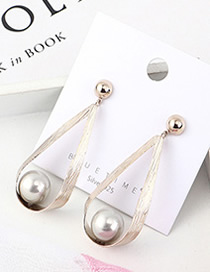 Fashion Gold Plated Gold Pearl Openwork S925 Silver Needle Earrings