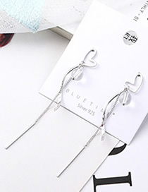Fashion Platinum Plated Gold Heart Care Tassel S925 Silver Needle Earrings