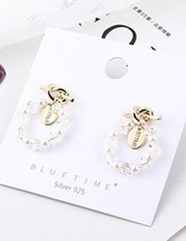 Fashion Gold Plated Gold Seal Ring Cutout S925 Silver Needle Earrings