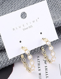 Fashion Gold Plated Gold Semi-circular Cutout S925 Silver Needle Earrings