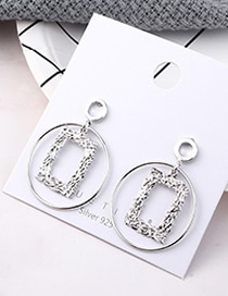Fashion Platinum Plated Gold Photo Frame Circle Cutout S925 Silver Needle Earrings