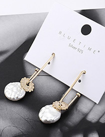 Fashion Gold Plated Gold Sunflower Natural Pearl S925 Silver Needle Earrings