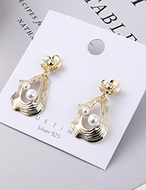 Fashion Gold Plated Gold Flower Pearl S925 Silver Needle Earrings