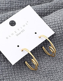 Fashion Gold Semicircular Hollow S925 Silver Needle Earrings