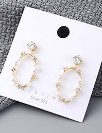 Fashion 14k Gold Plated Gold Circle Cutout S925 Silver Needle Earrings