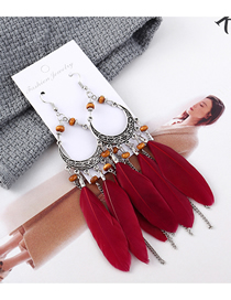 Fashion Red Tassel Moon Feather Earrings