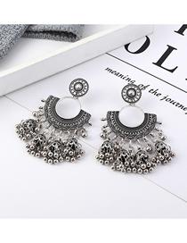 Fashion White K Half Moon Earrings