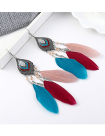 Fashion Color Small Leaf Feather Earrings