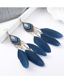 Fashion Dark Blue Small Leaf Feather Earrings