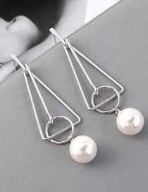 Fashion Platinum Plated Gold Triangle Pearl S925 Silver Needle Stud Earrings