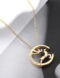 Fashion 14k Gold Crystal Elk Necklace