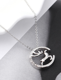 Fashion Platinum Crystal Elk Necklace