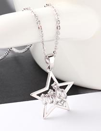 Fashion Platinum Star Shimmering Zircon Necklace