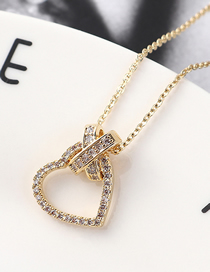 Fashion 14k Gold Lock Zircon Necklace