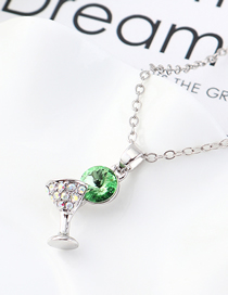 Fashion Olive Small Glass Crystal Necklace