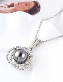 Fashion Gray Flower Ball Orb Crystal Necklace