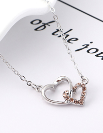 Fashion Light Peach Heart Lock Love Crystal Necklace