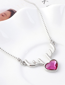 Fashion Purple Elk Heart Crystal Necklace