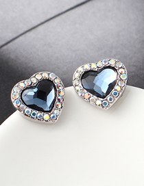 Fashion Denim Blue Crystal Stud Earrings - Sweetheart