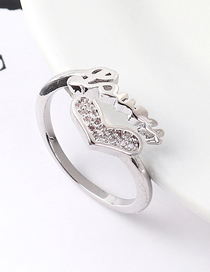Fashion Platinum Zircon Ring - Heart Shaped Letter Ring