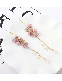 Fashion Pink Plated Gold Flower Small Fringed S925 Silver Needle Earrings