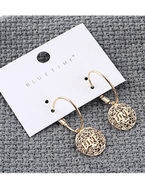Fashion Gold Plated Gold Mesh Love Letter Earrings
