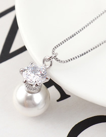 Fashion Platinum Pearl Zircon Necklace