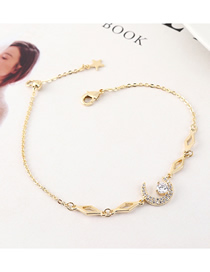 Fashion 14k Gold Moon Zircon Bracelet