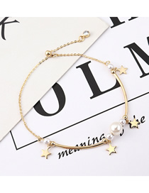 Fashion (14k Gold) Pentagram Pearl Zircon Bracelet