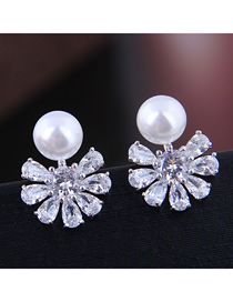 Fashion Silver Copper Micro Inlaid Zircon Flower Pearl Stud Earrings