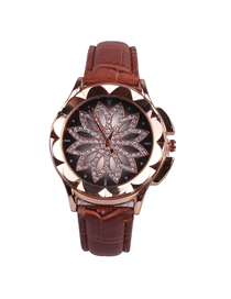 Fashion Coffee Time To Run The Disc Leather Watch  Electronic Element