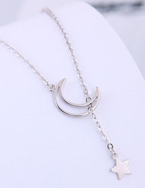 Fashion Silver Copper Plated Gold Star Moon Necklace