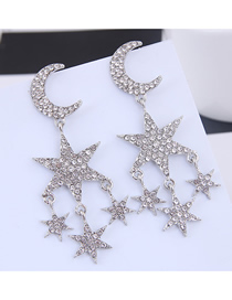 Fashion Silver Metal Flash Diamond Star Earrings