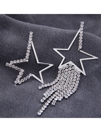 Fashion Silver 925 Silver Needle Metal Flash Diamond Pentagram Tassel Asymmetrical Earrings