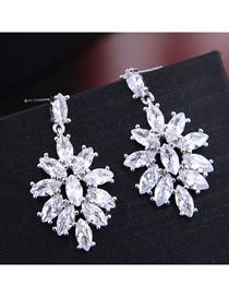 Fashion Silver Inlaid Zircon Earrings