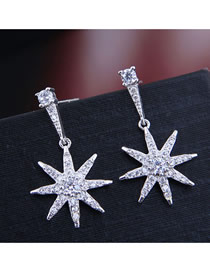 Fashion Silver Sun Flower Earrings