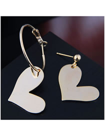 Fashion Gold Love Asymmetric Earrings
