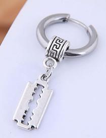 Fashion Silver Titanium Steel Blade Earrings Single