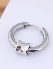 Fashion Silver Titanium Steel Earrings Single