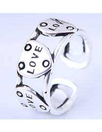 Fashion Silver Love Opening Ring