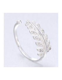 Fashion Silver Zircon Leaf Open Ring