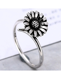 Fashion Silver Chrysanthemum Open Ring
