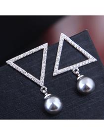 Fashion Silver Zirconium Triangle Pearl Stud Earrings