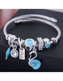 Fashion Blue Metal Swan Bracelet