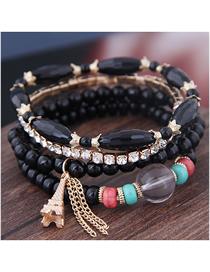 Fashion Black Acrylic Bead Tower Tassel Multilayer Bracelet