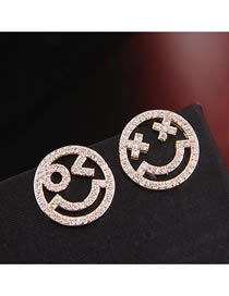 Fashion Gold 925 Silver Needle Copper Micro-inlaid Zircon Smiley Earrings