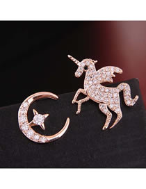 Fashion Gold 925 Silver Needle Copper Micro-inlaid Zircon Star Month Horse Asymmetrical Earrings