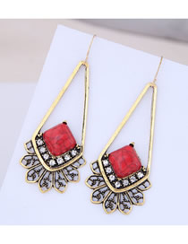 Fashion Red Metal Earrings